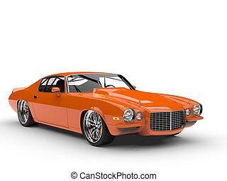 Orange vintage car on white background