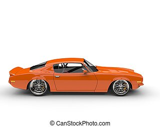 Orange vintage car on white background - side view