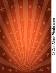 Orange vintage sunbeams - An abstract circus poster with...