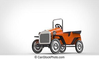Orange vintage toy car with metallic wheels