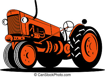 Orange vintage tractor low angle view - Illustration of an...