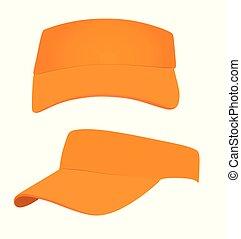 Orange visor cap. vector illustration