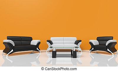 orange, vivant, contemporain, salle