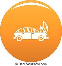 orange, voiture, vecteur, brûlé, icône