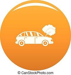 orange, voiture, vecteur, fumée, icône