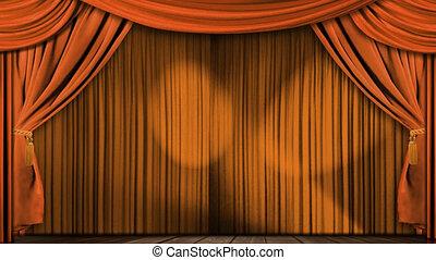 orange, vorhänge, stoff, theater