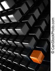 orange, würfel, mit, viele, schwarz, würfel, einmalig, oder, unterschied, begriff, senkrecht, geschaeftswelt, hintergrund