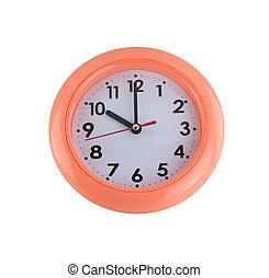 orange wall clock isolated on white.