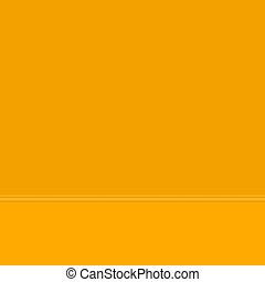 Orange wall and floor, wall with baseboard molding, part of the interior, vector illustration