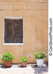 Orange wall with closed window