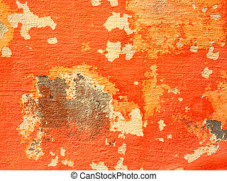 Orange wall with peeling paint