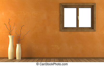 Orange wall with 2 vases and a window with clipping path ready for exact isolation from the background