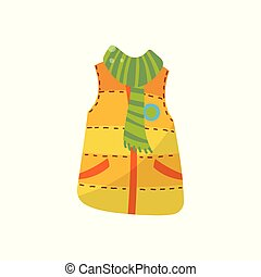 Orange warm vest with green scarf, boys wear vector Illustration