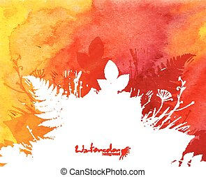 Orange watercolor background with white leaves silhouette