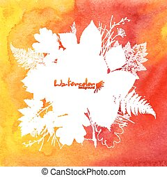 Orange watercolor background with white leaves silhouettes