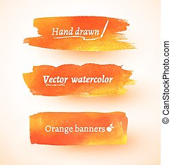 Orange watercolor banners.