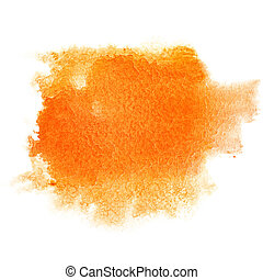 Orange watercolor brush stroke isolated over the white...