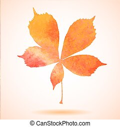 Orange watercolor chestnut leaf