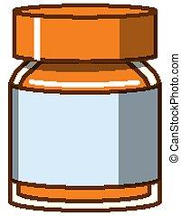 Orange watercolor in bottle on white background
