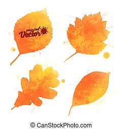 Orange watercolor leaves vector set