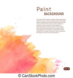 Orange watercolor paint background vertical diag left -...