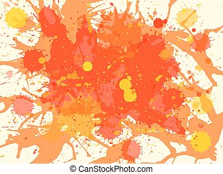 Orange watercolor paint splashes background