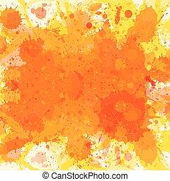 Orange watercolor paint splashes background
