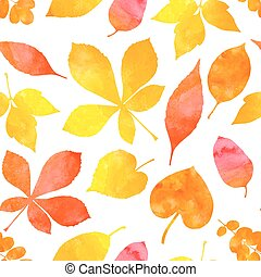 Orange watercolor painted autumn leaves. Vector seamless pattern