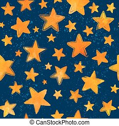 Orange watercolor painted stars on blue background