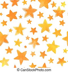 Orange watercolor painted stars on white background
