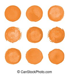 Orange watercolor round stains