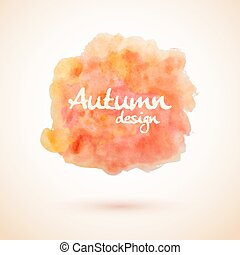 Orange watercolor splash element for autumn designs