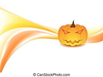 Orange waves and Halloween pumpkin on white background