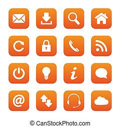 Orange web buttons - Set of orange web buttons