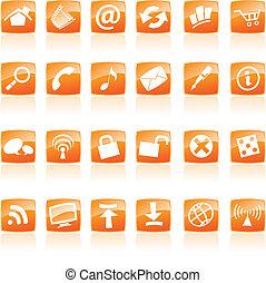 Orange Web Icons - Orange Web and computer Icons isolated,...