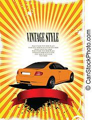 Orange wedding background with car image. Vector ...
