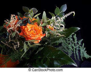 Orange wedding colourful bouquet of flowers