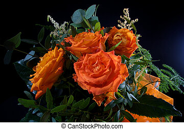 Orange wedding colourful bouquet of flowers