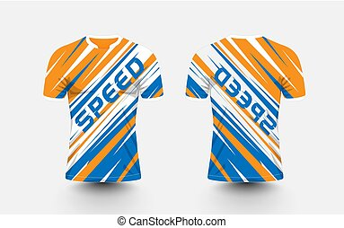 Orange, White and blue stripe pattern sport football kits, jersey, t-shirt design template