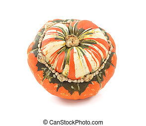 Orange, white and green Turks Turban squash, isolated on a white background