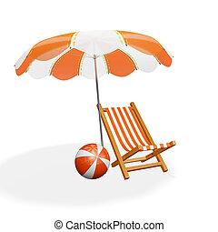 Orange White Beach Lounger Parasol and Ball - A 3D...
