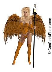 Orange Winged Angel With Blonde Hair - Orange winged angel...
