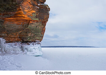 Orange Winter Cliff with Copy Space