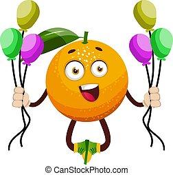 Orange with balloons, illustration, vector on white background.