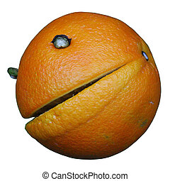 an orange with eyes and big lips, view from aside