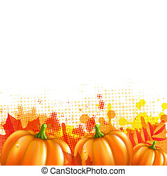 Orange With Blobs Autumn Leafs And Pumpkins, Vector...