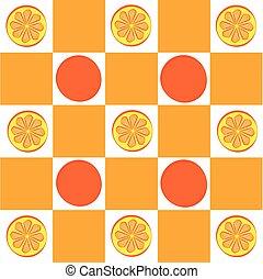 Orange with chessboard isolated on white background.