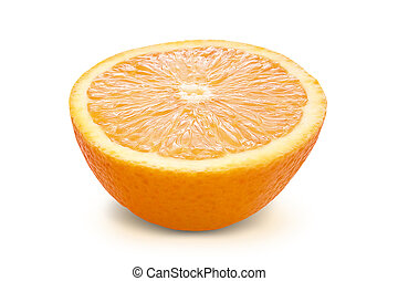 Orange with clipping path isolated on white background.