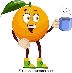 Orange with coffee, illustration, vector on white background.