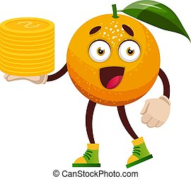 Orange with coins, illustration, vector on white background.